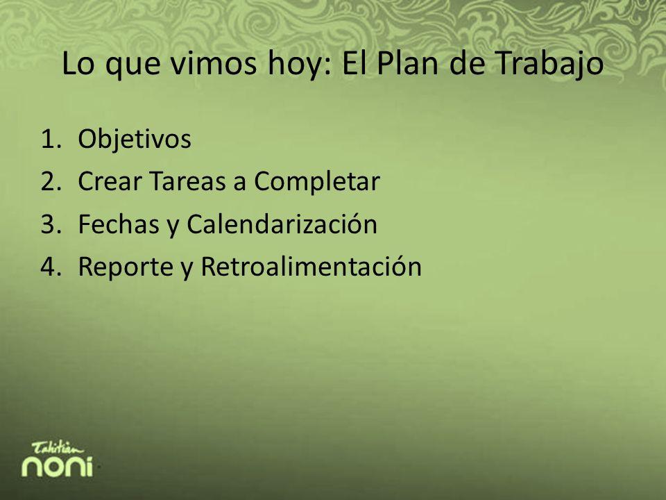 Lo que vimos hoy: El Plan de Trabajo 1.Objetivos 2.Crear Tareas a Completar 3.Fechas y Calendarización 4.Reporte y Retroalimentación