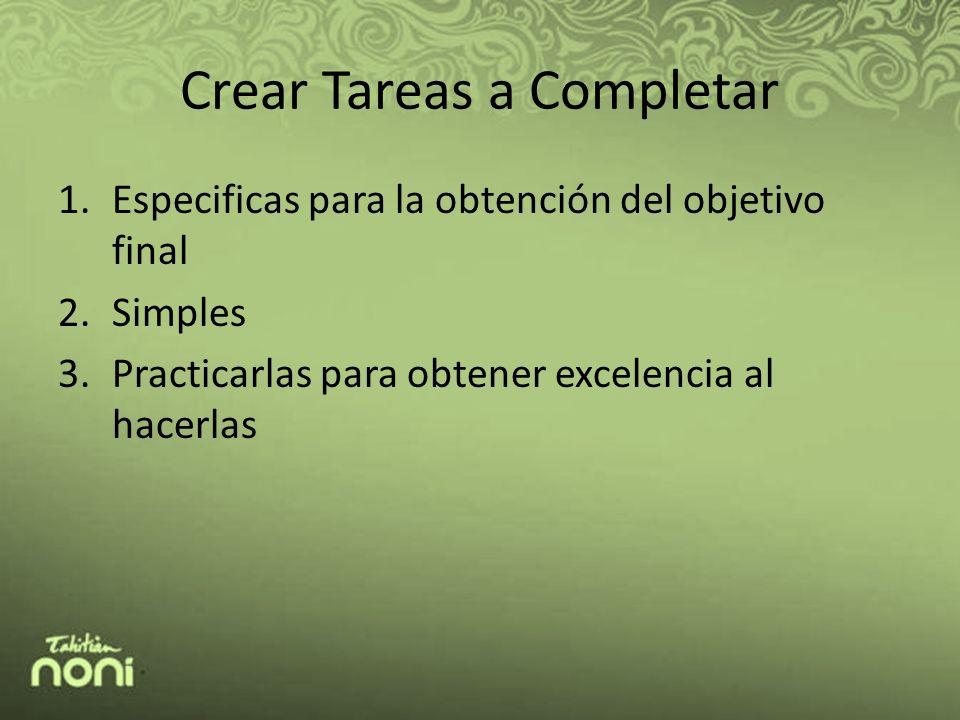 Crear Tareas a Completar 1.Especificas para la obtención del objetivo final 2.Simples 3.Practicarlas para obtener excelencia al hacerlas