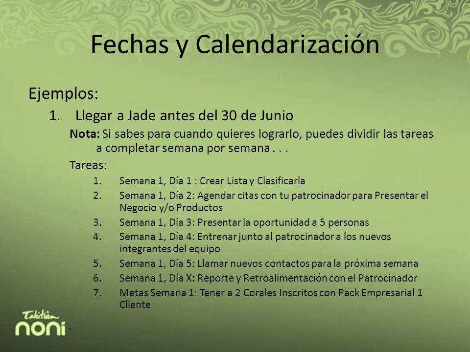 Fechas y Calendarización Ejemplos: 1.Llegar a Jade antes del 30 de Junio Nota: Si sabes para cuando quieres lograrlo, puedes dividir las tareas a completar semana por semana...
