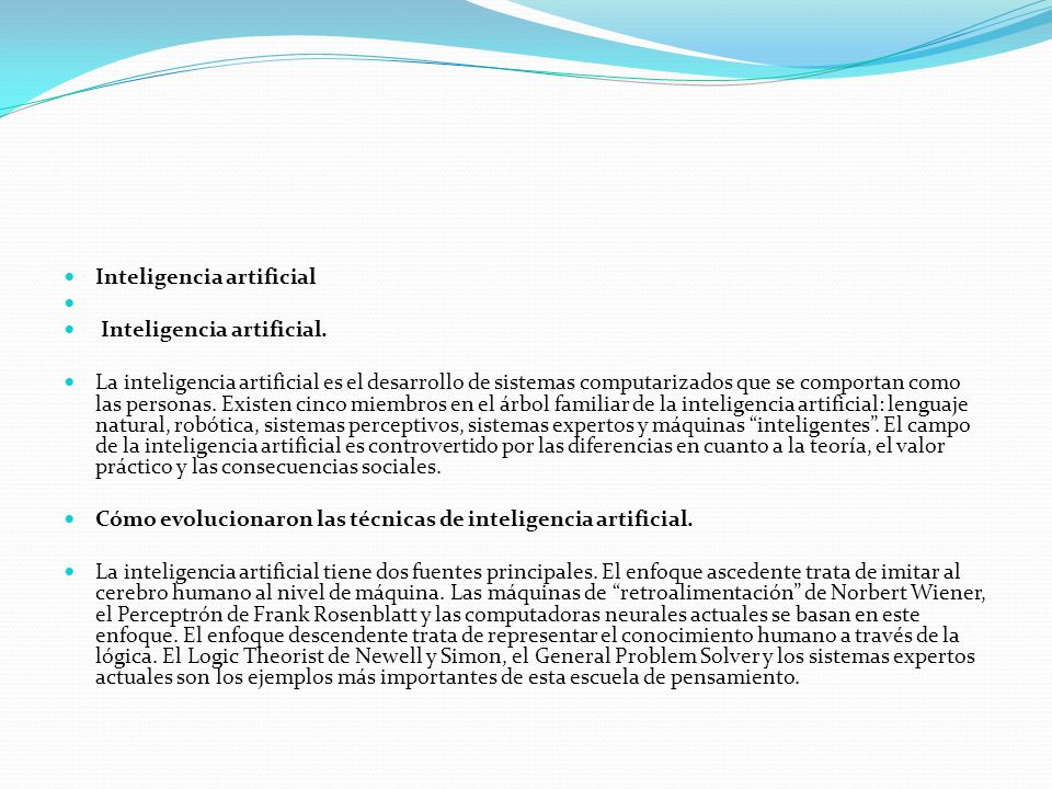 Inteligencia artificial Inteligencia artificial.