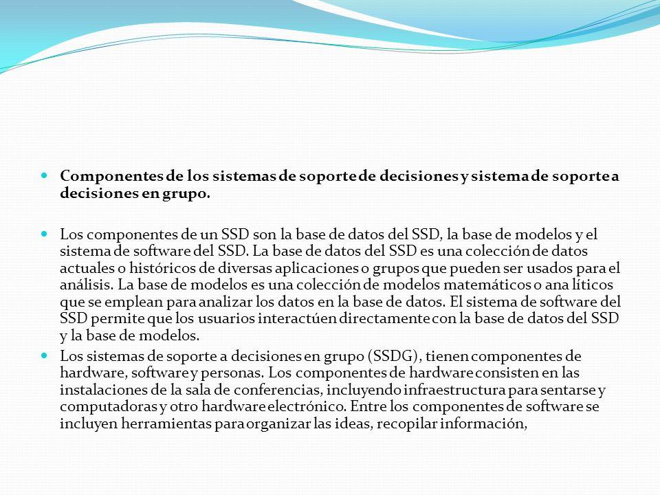 Componentes de los sistemas de soporte de decisiones y sistema de soporte a decisiones en grupo. Los componentes de un SSD son la base de datos del SS