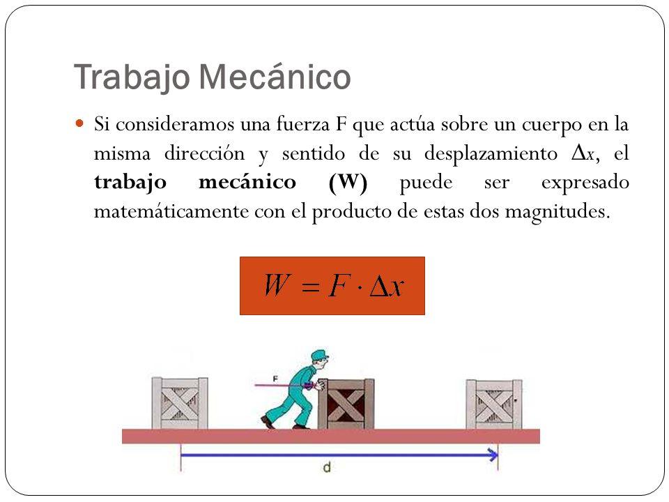 Trabajo Mecánico Si consideramos una fuerza F que actúa sobre un cuerpo en la misma dirección y sentido de su desplazamiento x, el trabajo mecánico (W