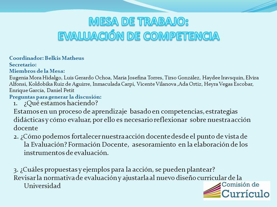 Coordinador: Belkis Matheus Secretario: Miembros de la Mesa: Eugenia Mora Hidalgo, Luis Gerardo Ochoa, María Josefina Torres, Tirso González, Haydee I