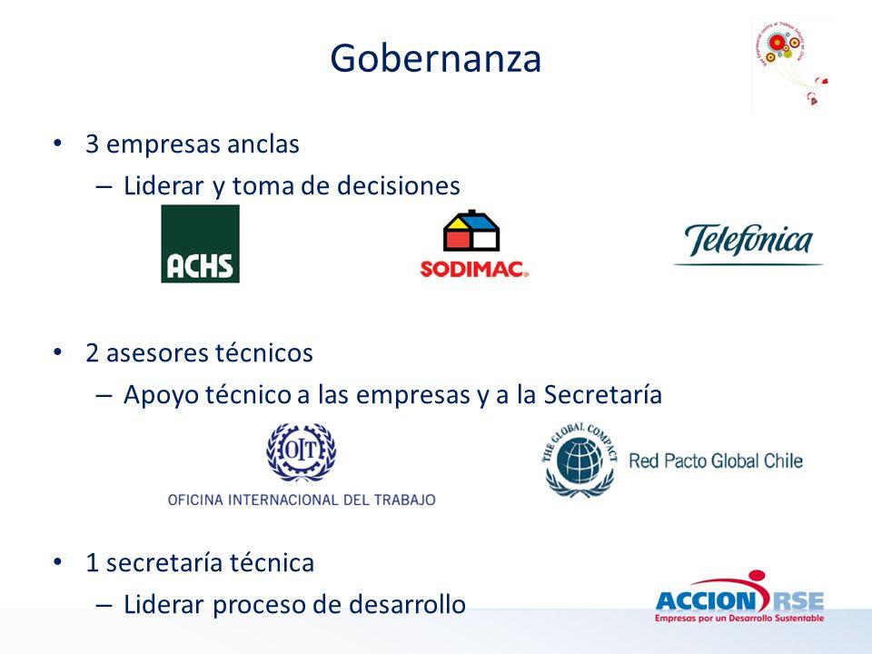 Gobernanza 3 empresas anclas – Liderar y toma de decisiones 2 asesores técnicos – Apoyo técnico a las empresas y a la Secretaría 1 secretaría técnica – Liderar proceso de desarrollo