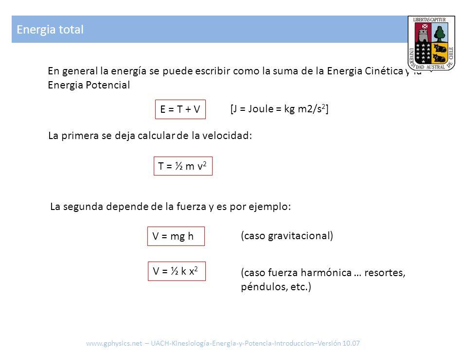 En general la energía se puede escribir como la suma de la Energia Cinética y la Energia Potencial La primera se deja calcular de la velocidad: T = ½ m v 2 E = T + V La segunda depende de la fuerza y es por ejemplo: V = mg h (caso gravitacional) V = ½ k x 2 (caso fuerza harmónica … resortes, péndulos, etc.) [J = Joule = kg m2/s 2 ] Energia total www.gphysics.net – UACH-Kinesiología-Energia-y-Potencia-Introduccion–Versión 10.07