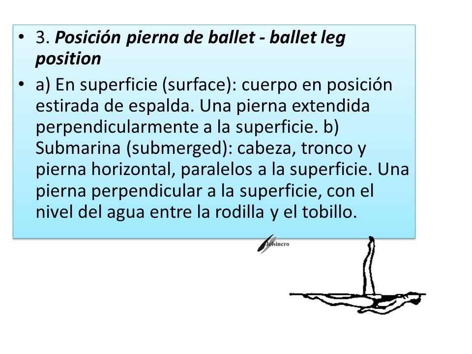 3. Posición pierna de ballet - ballet leg position a) En superficie (surface): cuerpo en posición estirada de espalda. Una pierna extendida perpendicu