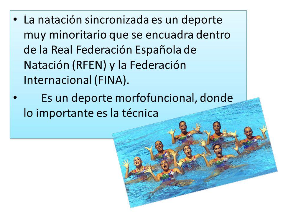 La natación sincronizada es un deporte muy minoritario que se encuadra dentro de la Real Federación Española de Natación (RFEN) y la Federación Intern