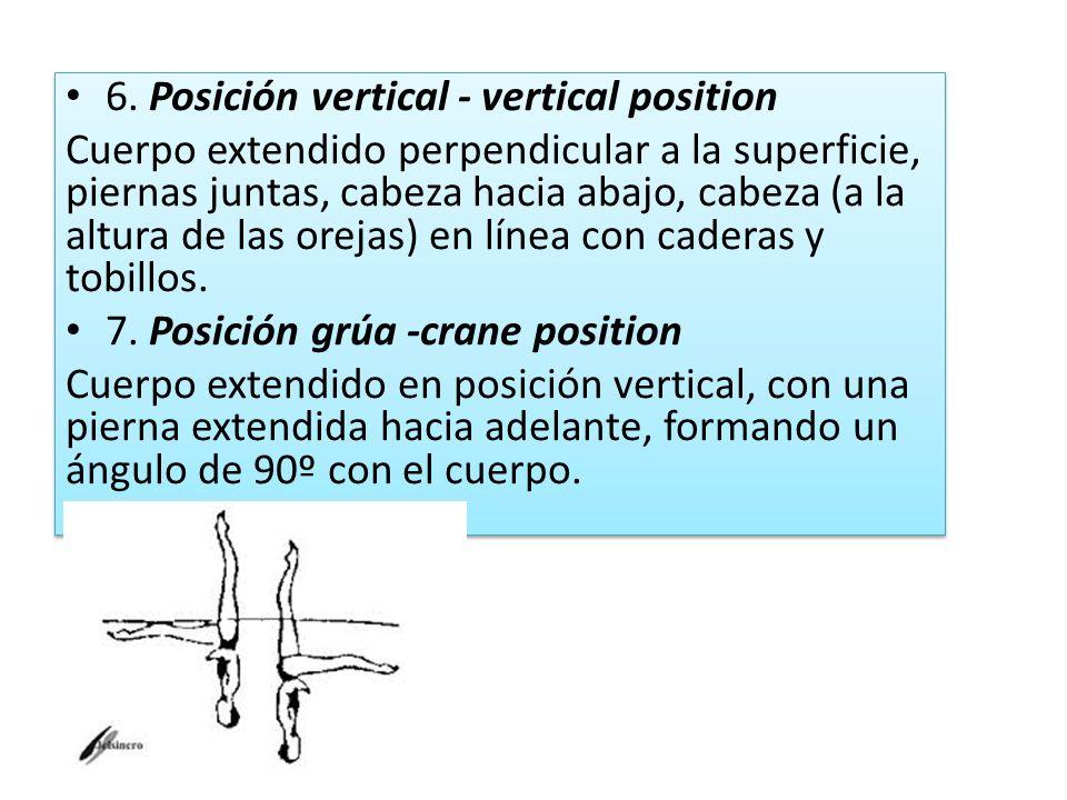 6. Posición vertical - vertical position Cuerpo extendido perpendicular a la superficie, piernas juntas, cabeza hacia abajo, cabeza (a la altura de la