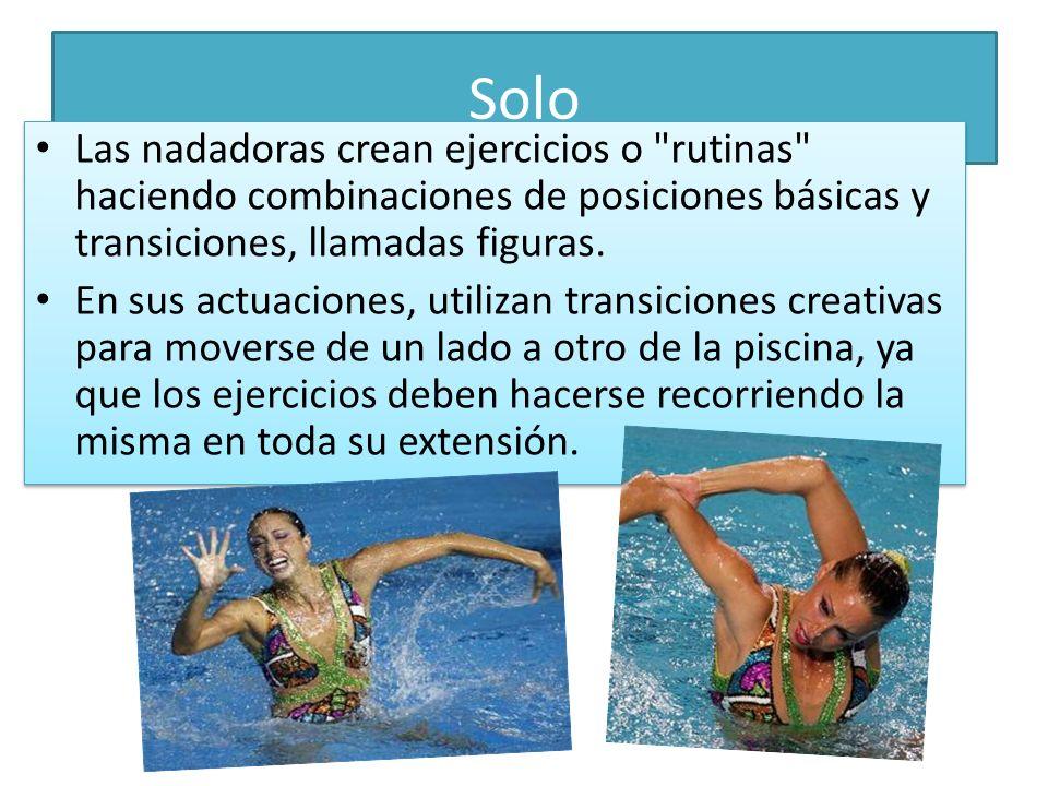 Dúo Los dúos, exigen una perfecta coordinación de las dos nadadoras, además de una buena sincronización con el cuerpo de su compañera.