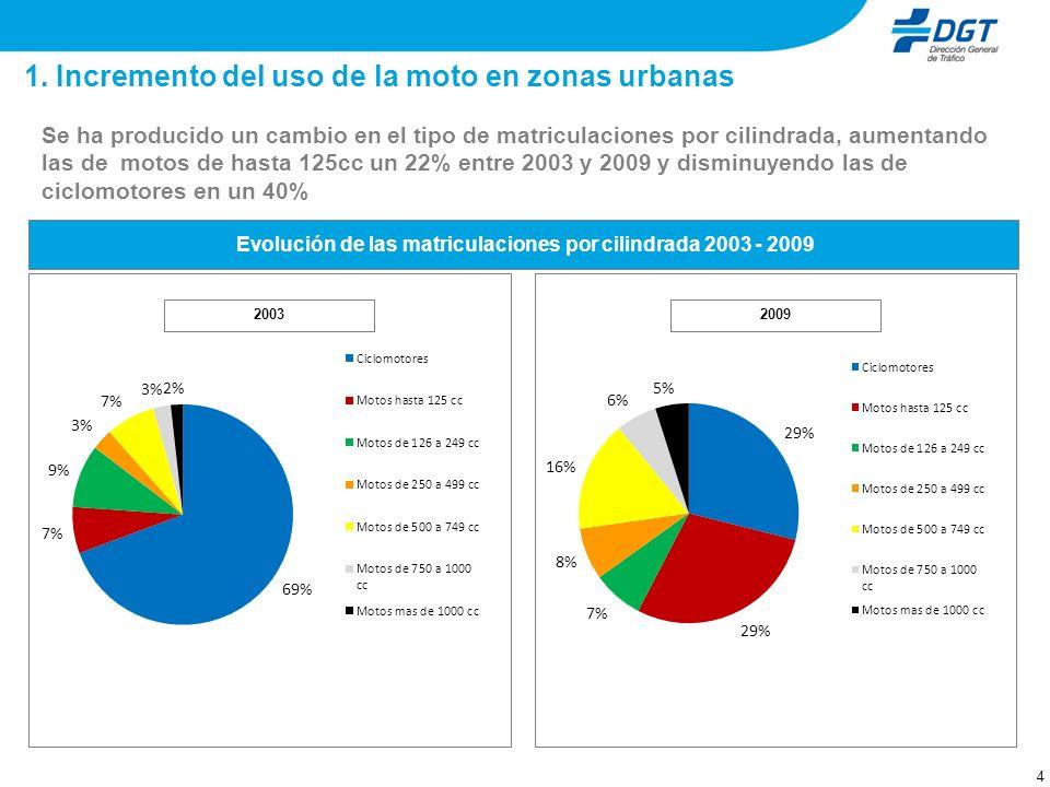 15 A pesar del descenso en las matriculaciones de motocicletas en los últimos años, agravado en 2009, el número de motos en circulación ha crecido en el período 2003-2009 un 70%, siendo el segmento de hasta 125 cc.