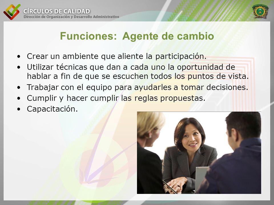Funciones: Agente de cambio Crear un ambiente que aliente la participación. Utilizar técnicas que dan a cada uno la oportunidad de hablar a fin de que