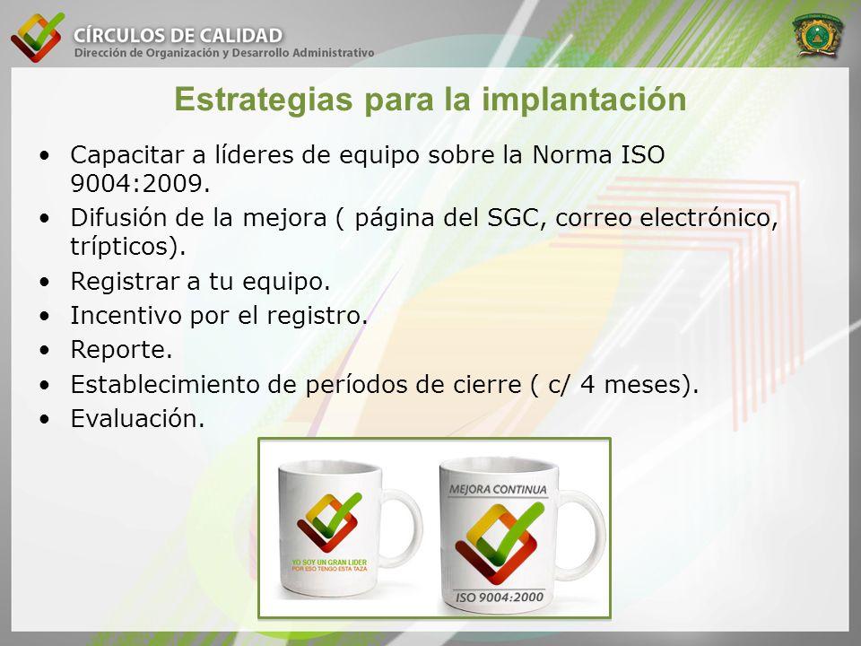 Estrategias para la implantación Capacitar a líderes de equipo sobre la Norma ISO 9004:2009. Difusión de la mejora ( página del SGC, correo electrónic