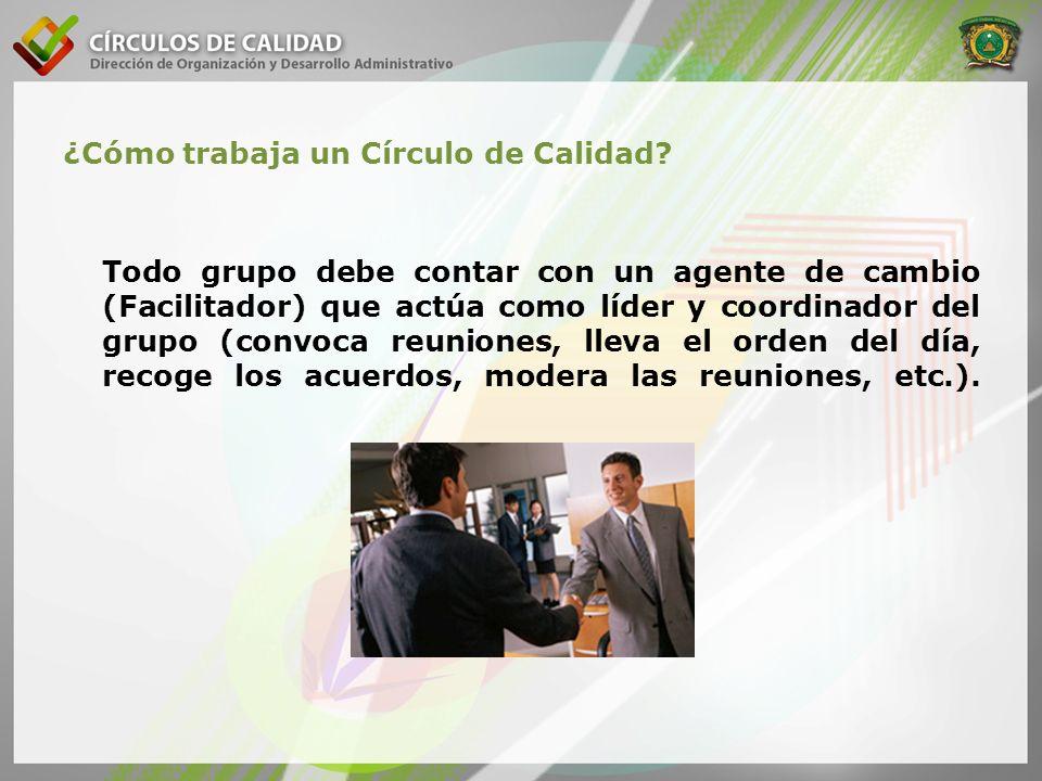 ¿Cómo trabaja un Círculo de Calidad? Todo grupo debe contar con un agente de cambio (Facilitador) que actúa como líder y coordinador del grupo (convoc