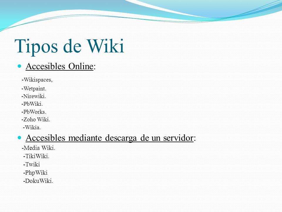 Tipos de Wiki Accesibles Online: -Wikispaces, -Wetpaint.