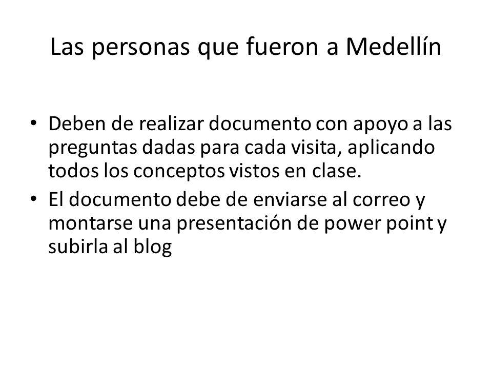 Las personas que fueron a Medellín Deben de realizar documento con apoyo a las preguntas dadas para cada visita, aplicando todos los conceptos vistos