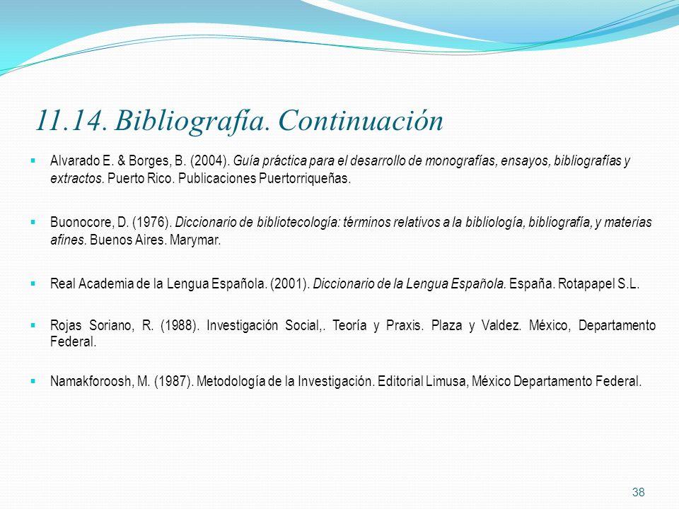 11.14. Bibliografía. Continuación Alvarado E. & Borges, B. (2004). Guía práctica para el desarrollo de monografías, ensayos, bibliografías y extractos