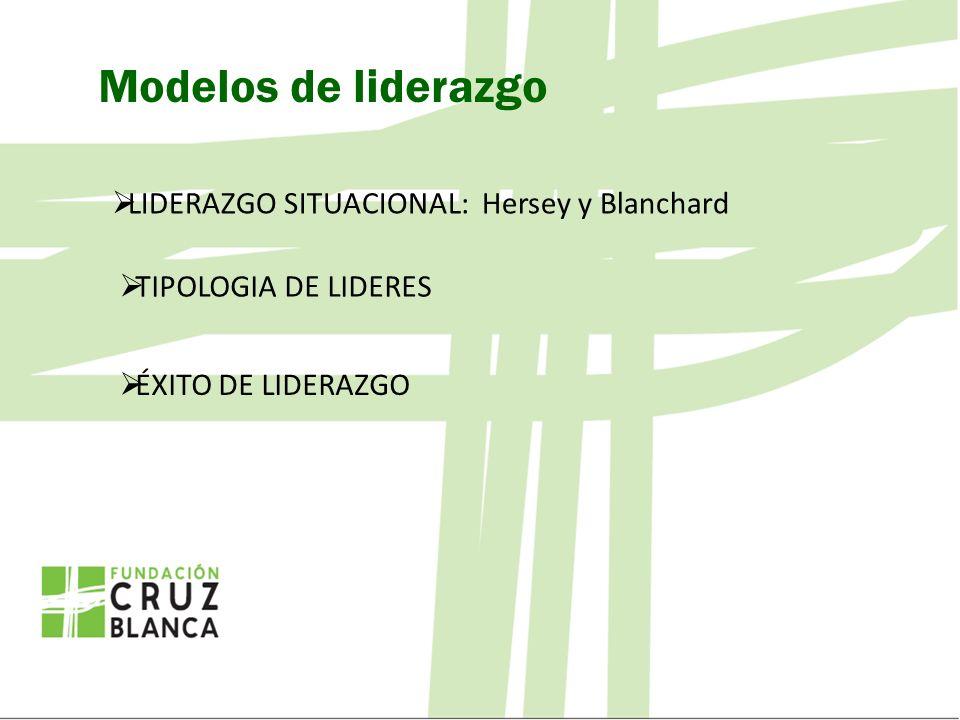 Modelos de liderazgo LIDERAZGO SITUACIONAL: Hersey y Blanchard TIPOLOGIA DE LIDERES ÉXITO DE LIDERAZGO