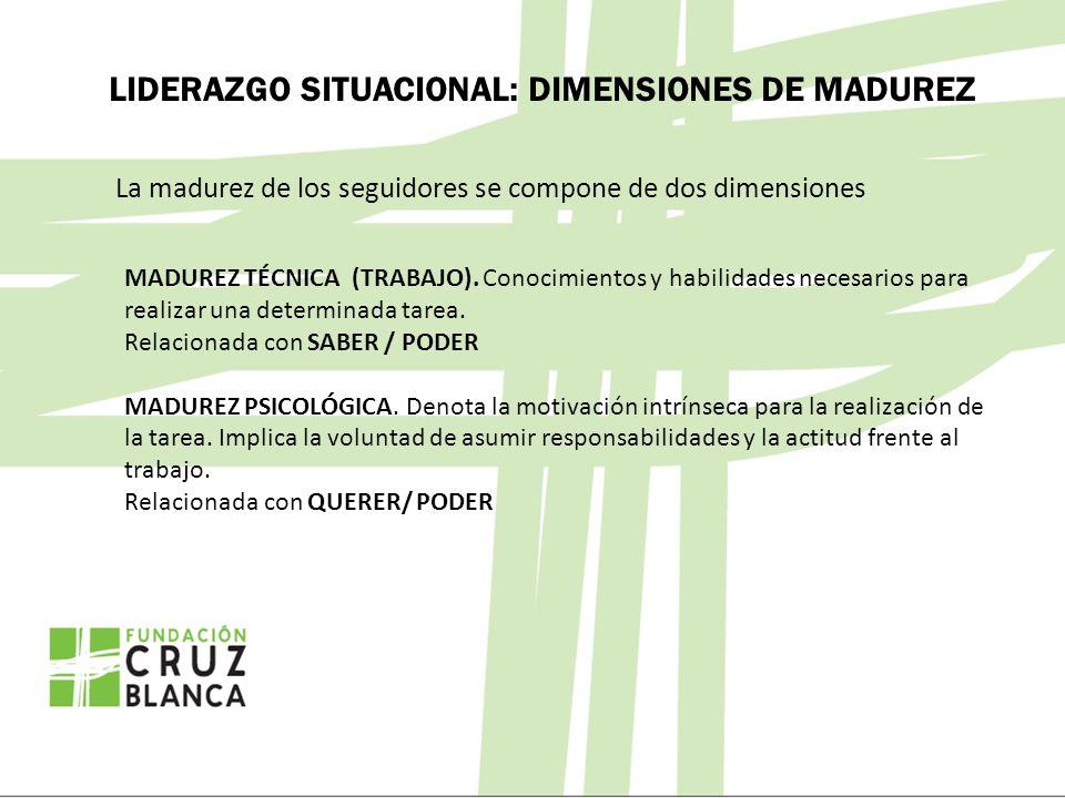 LIDERAZGO SITUACIONAL: DIMENSIONES DE MADUREZ La madurez de los seguidores se compone de dos dimensiones MADUREZ TÉCNICA (TRABAJO). Conocimientos y ha