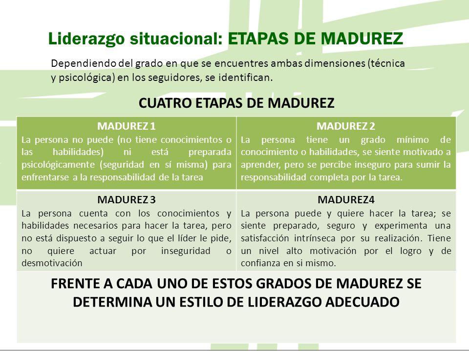 Liderazgo situacional: ETAPAS DE MADUREZ Dependiendo del grado en que se encuentres ambas dimensiones (técnica y psicológica) en los seguidores, se id
