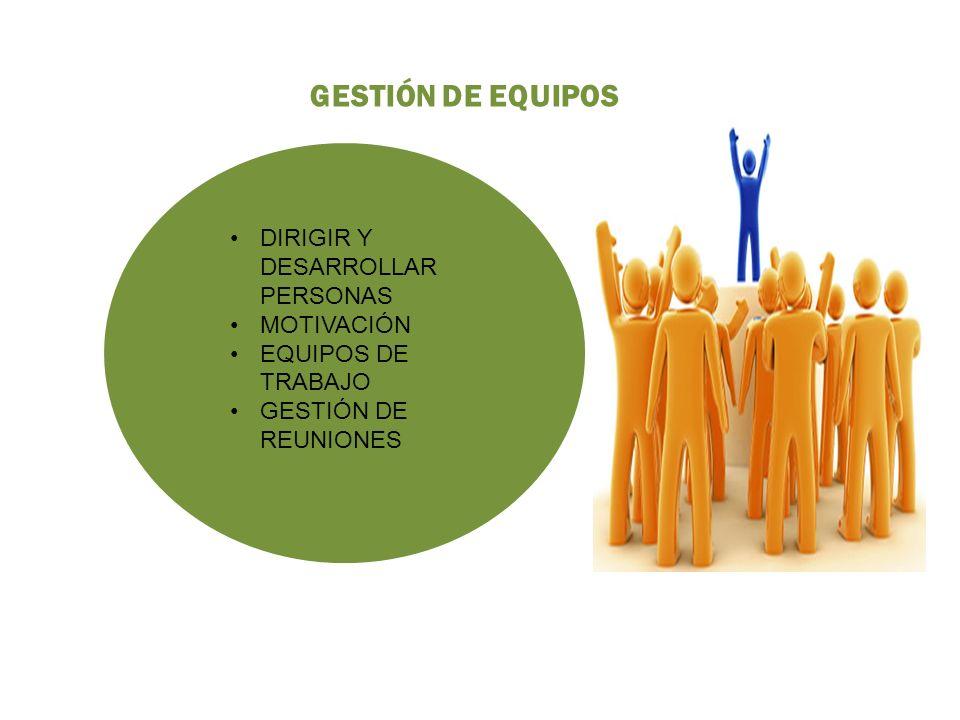 GESTIÓN DE EQUIPOS DIRIGIR Y DESARROLLAR PERSONAS MOTIVACIÓN EQUIPOS DE TRABAJO GESTIÓN DE REUNIONES