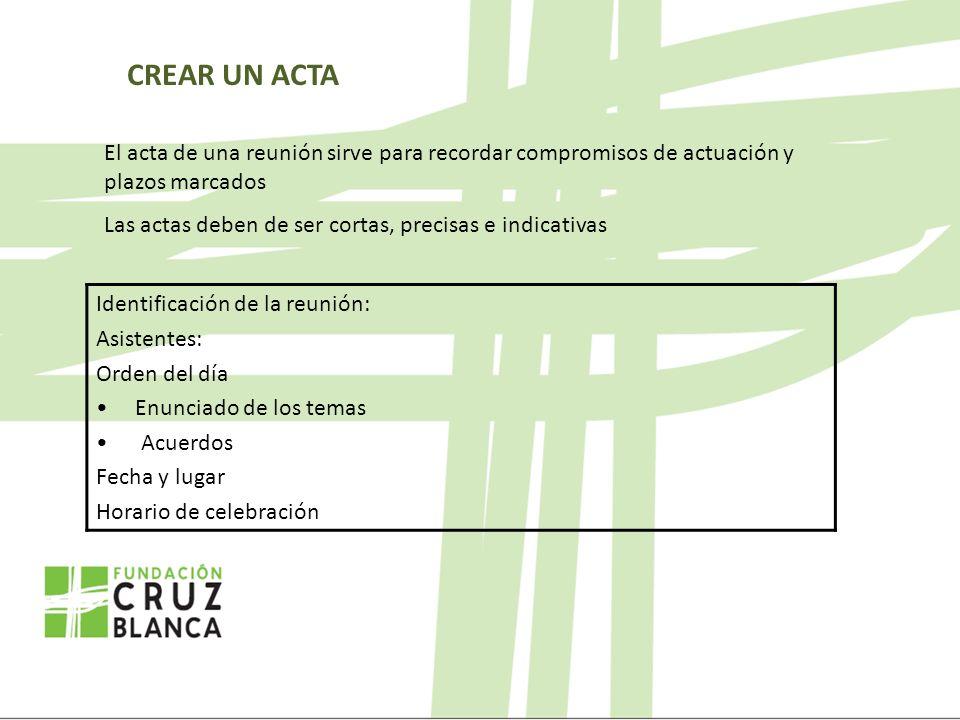 CREAR UN ACTA El acta de una reunión sirve para recordar compromisos de actuación y plazos marcados Las actas deben de ser cortas, precisas e indicati