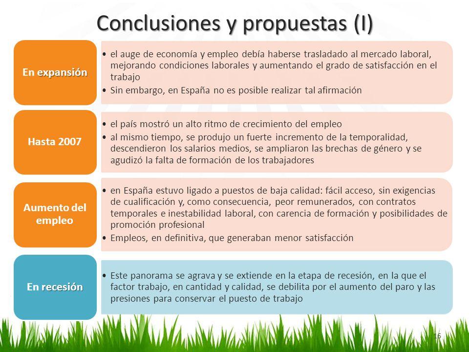 Conclusiones y propuestas (I) 16 el auge de economía y empleo debía haberse trasladado al mercado laboral, mejorando condiciones laborales y aumentand