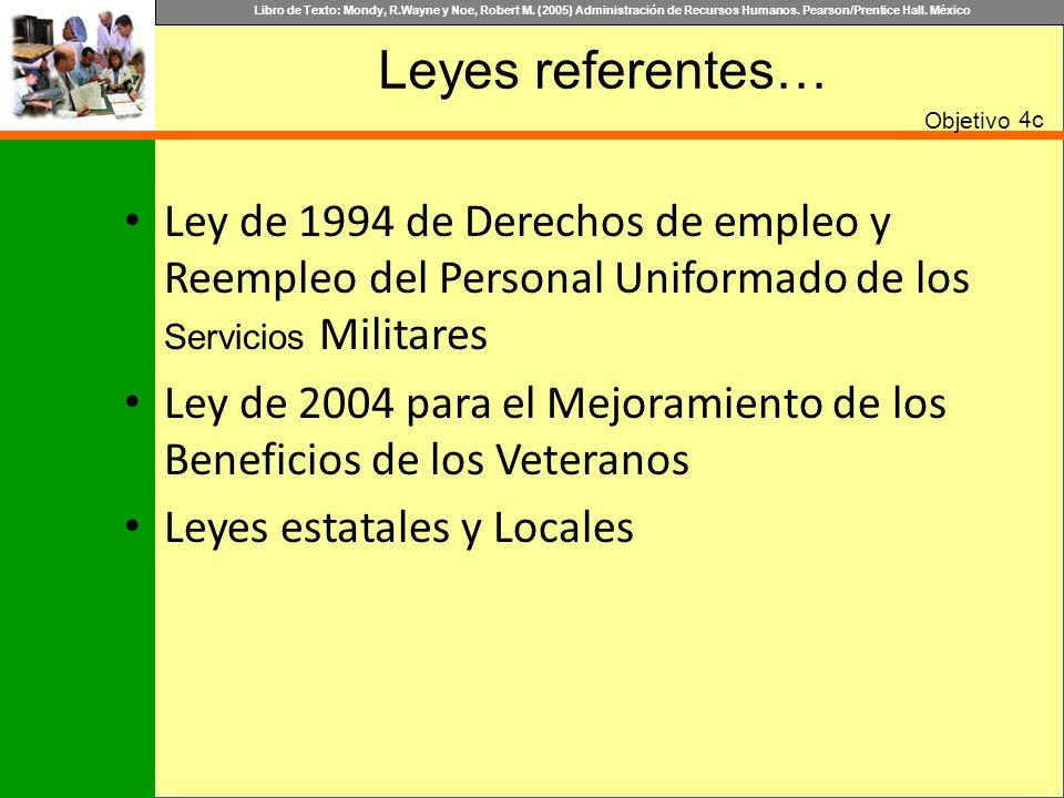 Libro de Texto: Mondy, R.Wayne y Noe, Robert M. (2005) Administración de Recursos Humanos. Pearson/Prentice Hall. México Leyes referentes… Objetivo 4c