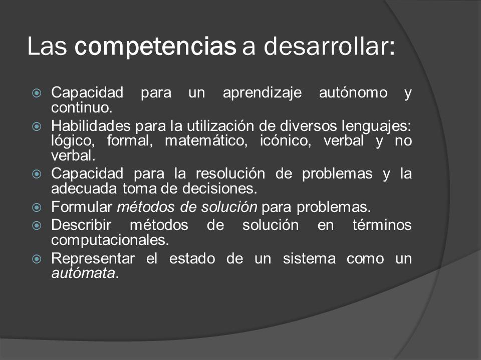 Las competencias a desarrollar: Capacidad para un aprendizaje autónomo y continuo. Habilidades para la utilización de diversos lenguajes: lógico, form