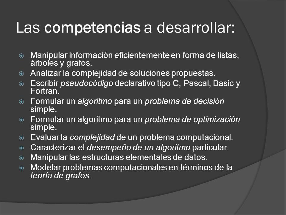 Las competencias a desarrollar: Manipular información eficientemente en forma de listas, árboles y grafos. Analizar la complejidad de soluciones propu