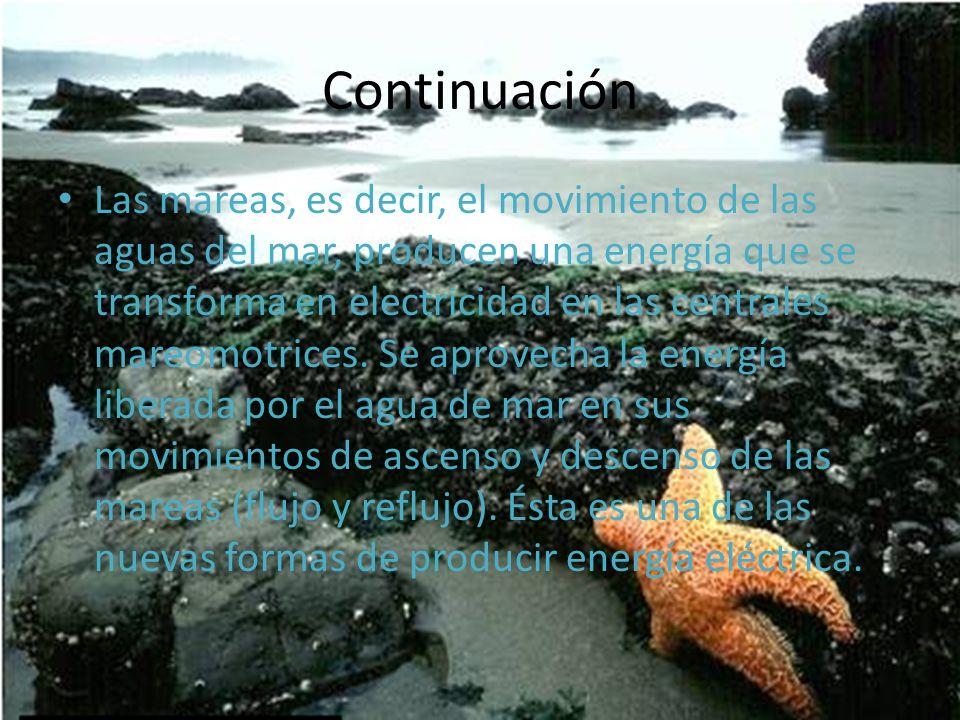 Las mareas, es decir, el movimiento de las aguas del mar, producen una energía que se transforma en electricidad en las centrales mareomotrices. Se ap