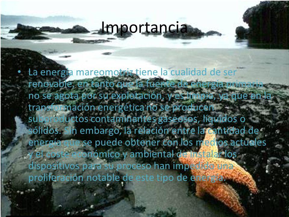 La energía mareomotriz tiene la cualidad de ser renovable, en tanto que la fuente de energía primaria no se agota por su explotación, y es limpia, ya