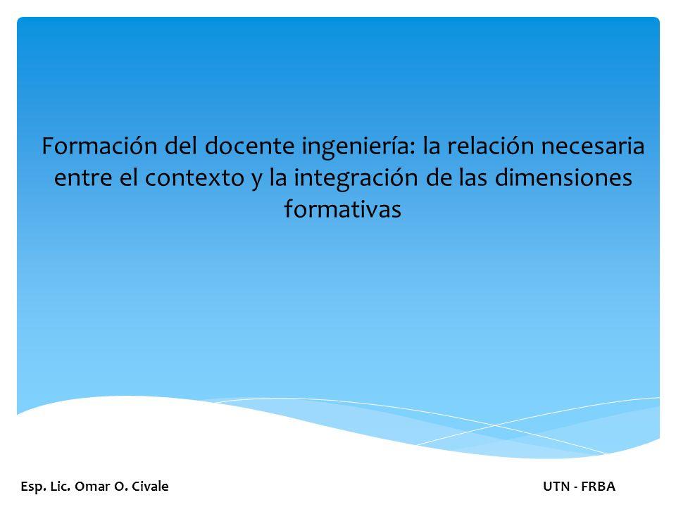 Relación con el contexto social: Formación del docente de ingeniería: la relación necesaria entre el contexto y la integración de las dos dimensiones formativas Esp.