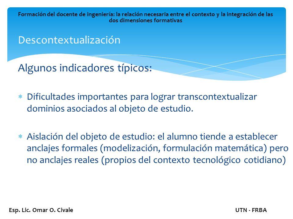 Descontextualización Formación del docente de ingeniería: la relación necesaria entre el contexto y la integración de las dos dimensiones formativas Esp.