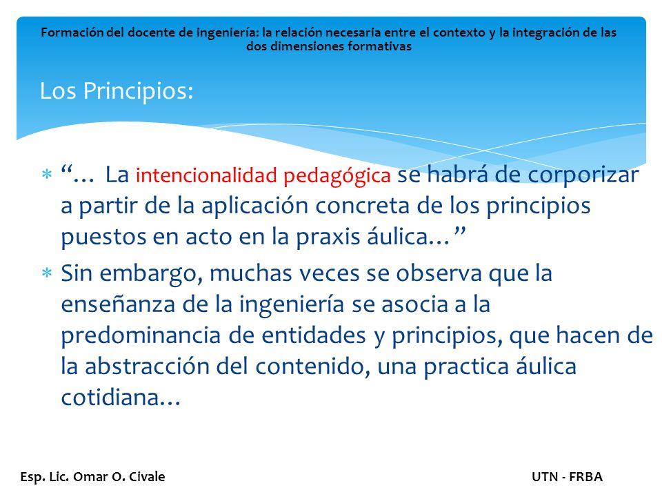 Los Principios: Formación del docente de ingeniería: la relación necesaria entre el contexto y la integración de las dos dimensiones formativas Esp.