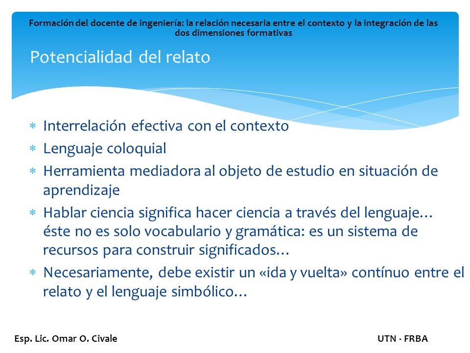 Potencialidad del relato Formación del docente de ingeniería: la relación necesaria entre el contexto y la integración de las dos dimensiones formativas Esp.