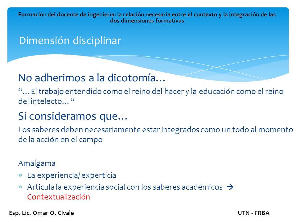 Dimensión disciplinar Formación del docente de ingeniería: la relación necesaria entre el contexto y la integración de las dos dimensiones formativas Esp.