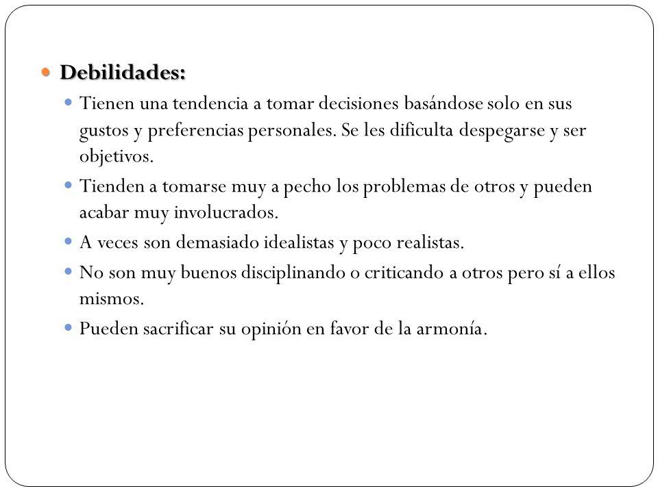 Debilidades: Debilidades: Tienen una tendencia a tomar decisiones basándose solo en sus gustos y preferencias personales. Se les dificulta despegarse