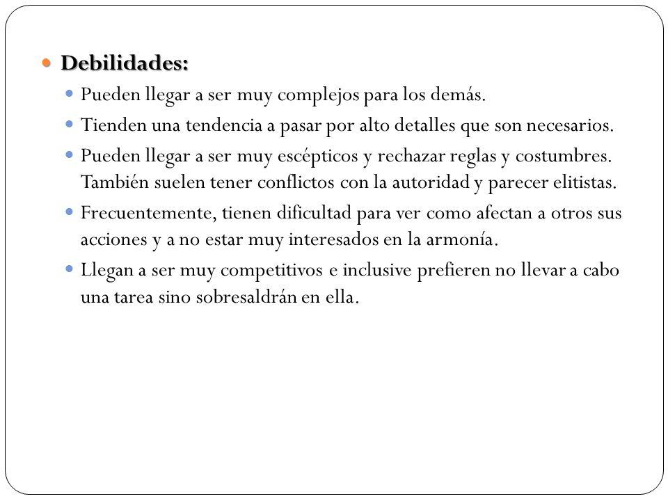 Debilidades: Debilidades: Pueden llegar a ser muy complejos para los demás.