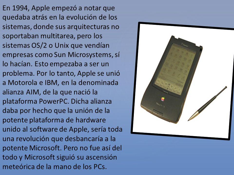 En 1994, Apple empezó a notar que quedaba atrás en la evolución de los sistemas, donde sus arquitecturas no soportaban multitarea, pero los sistemas O