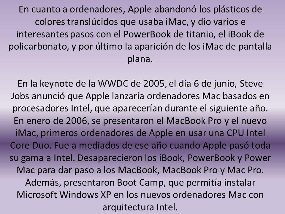 En cuanto a ordenadores, Apple abandonó los plásticos de colores translúcidos que usaba iMac, y dio varios e interesantes pasos con el PowerBook de ti