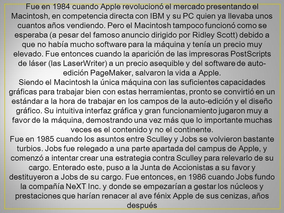 Fue en 1984 cuando Apple revolucionó el mercado presentando el Macintosh, en competencia directa con IBM y su PC quien ya llevaba unos cuantos años ve