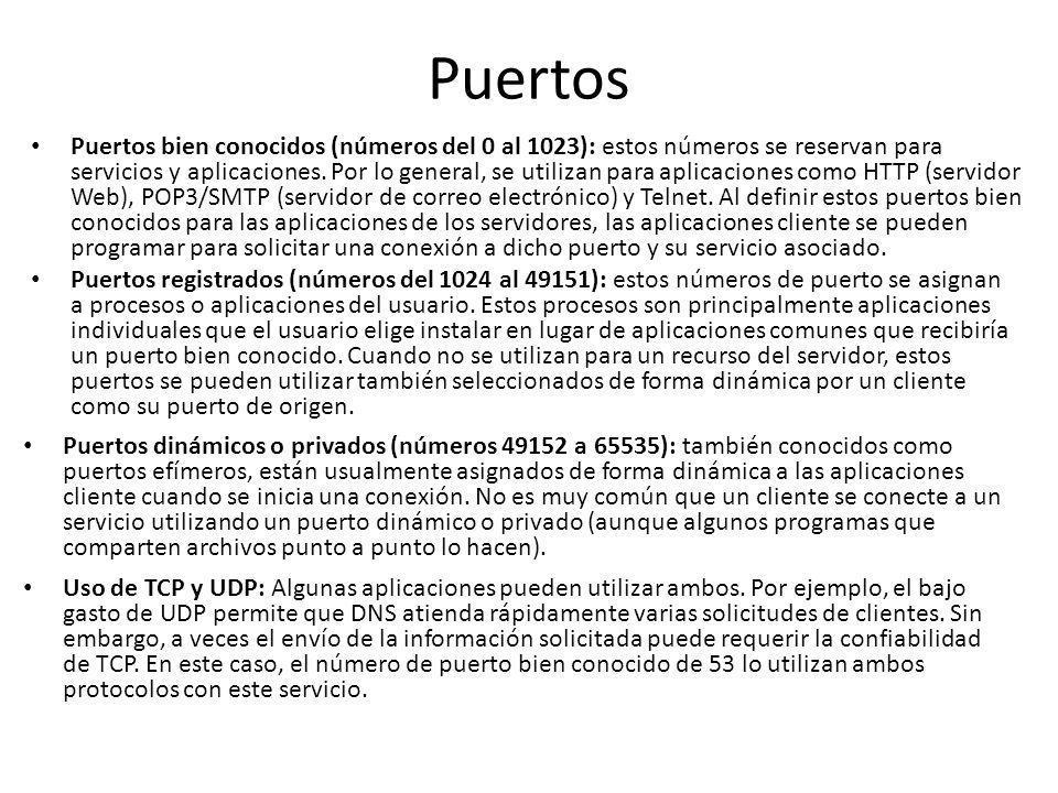 Puertos Puertos bien conocidos (números del 0 al 1023): estos números se reservan para servicios y aplicaciones. Por lo general, se utilizan para apli