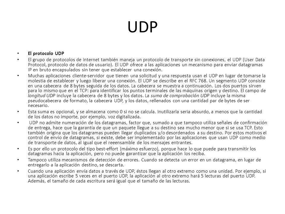 UDP El protocolo UDP El grupo de protocolos de Internet también maneja un protocolo de transporte sin conexiones, el UDP (User Data Protocol, protocolo de datos de usuario).