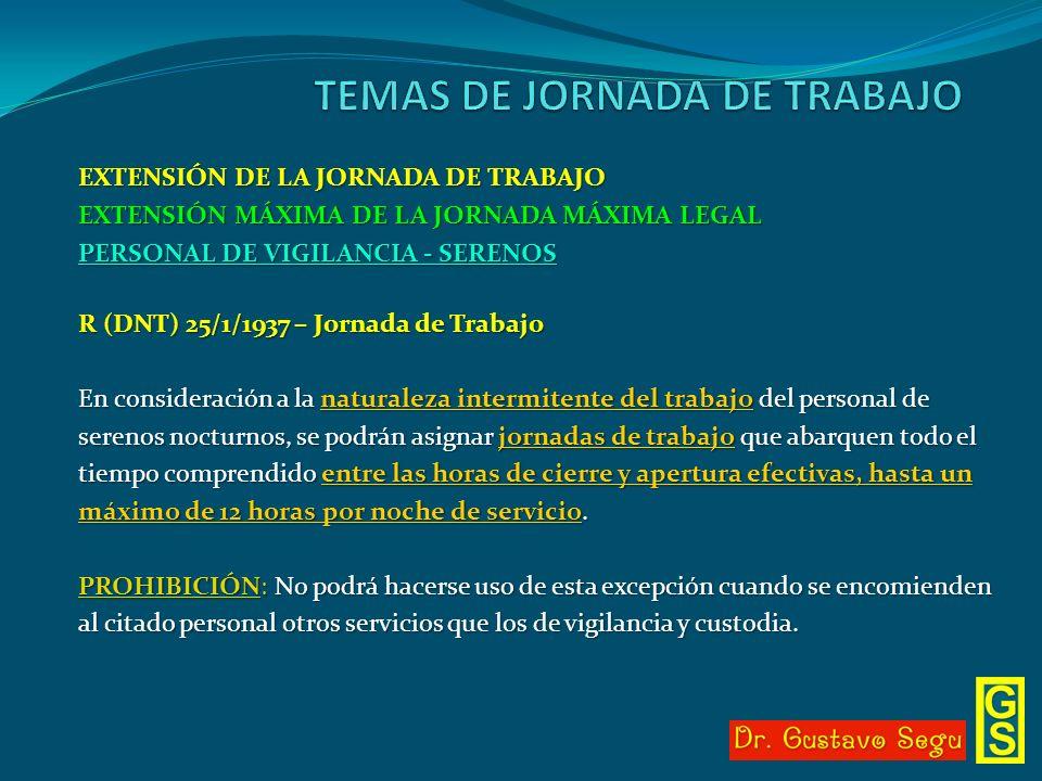 EXTENSIÓN DE LA JORNADA DE TRABAJO EXTENSIÓN MÁXIMA DE LA JORNADA MÁXIMA LEGAL PERSONAL DE VIGILANCIA - SERENOS R (DNT) 25/1/1937 – Jornada de Trabajo