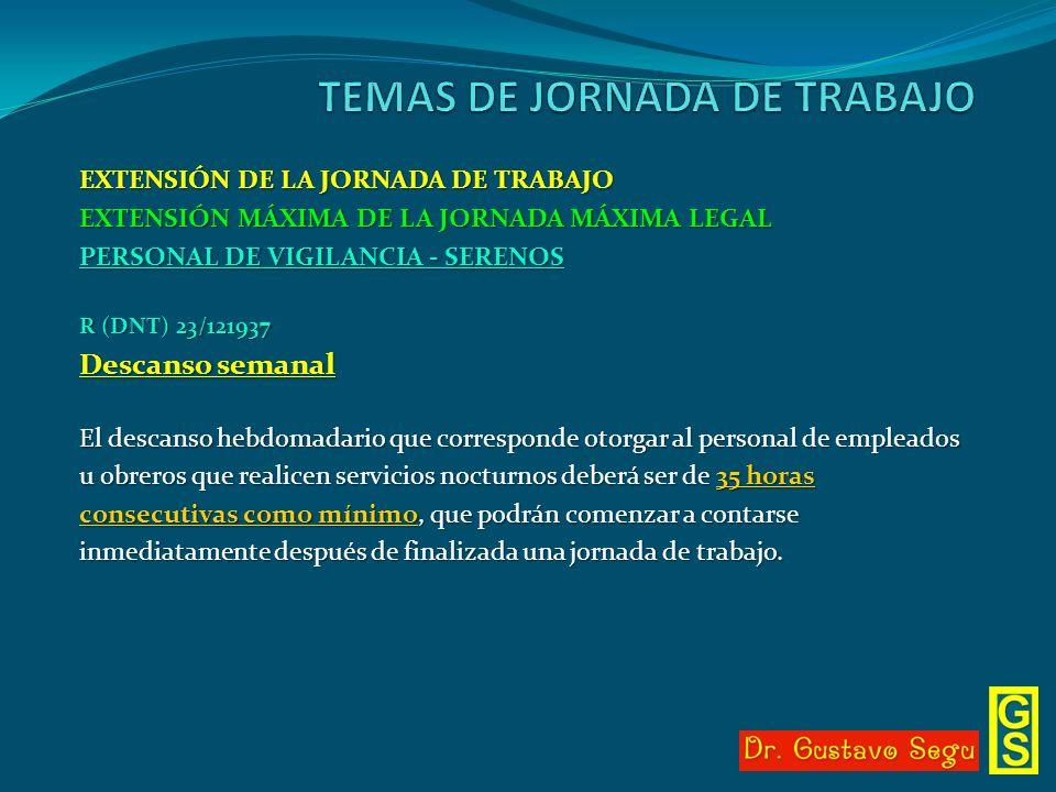 EXTENSIÓN DE LA JORNADA DE TRABAJO EXTENSIÓN MÁXIMA DE LA JORNADA MÁXIMA LEGAL PERSONAL DE VIGILANCIA - SERENOS R (DNT) 23/121937 Descanso semanal El