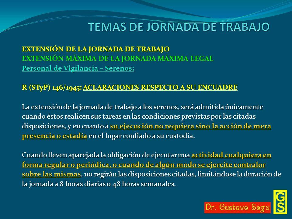 EXTENSIÓN DE LA JORNADA DE TRABAJO EXTENSIÓN MÁXIMA DE LA JORNADA MÁXIMA LEGAL Personal de Vigilancia – Serenos: R (STyP) 146/1945: ACLARACIONES RESPE
