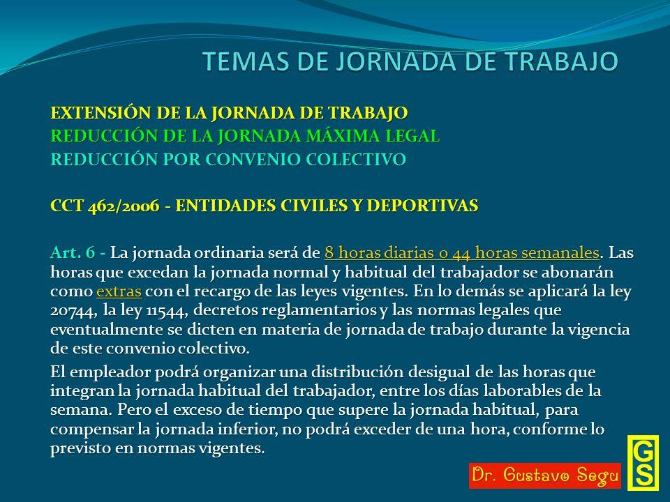 EXTENSIÓN DE LA JORNADA DE TRABAJO REDUCCIÓN DE LA JORNADA MÁXIMA LEGAL REDUCCIÓN POR CONVENIO COLECTIVO CCT 462/2006 - ENTIDADES CIVILES Y DEPORTIVAS