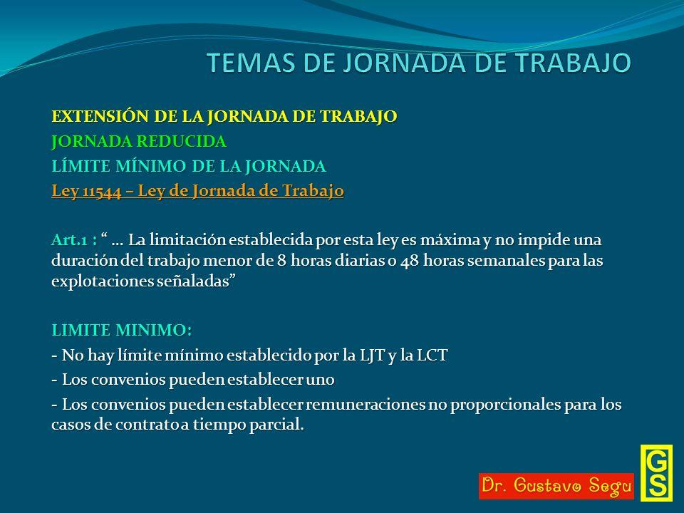 EXTENSIÓN DE LA JORNADA DE TRABAJO JORNADA REDUCIDA LÍMITE MÍNIMO DE LA JORNADA Ley 11544 – Ley de Jornada de Trabajo Art.1 : … La limitación establec