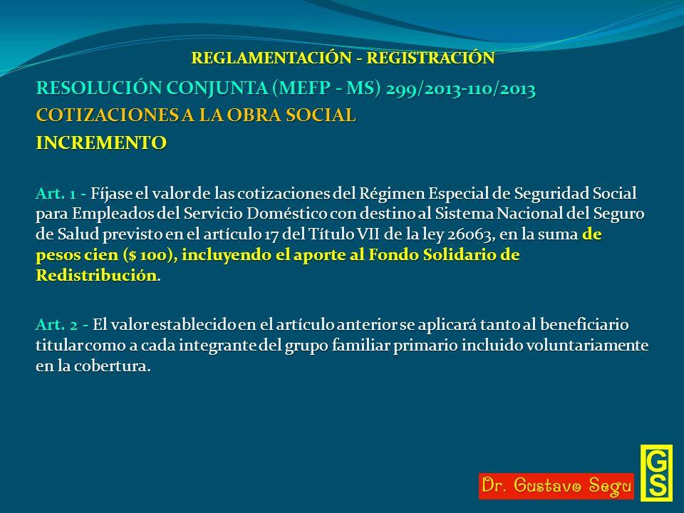 REGLAMENTACIÓN - REGISTRACIÓN RESOLUCIÓN CONJUNTA (MEFP - MS) 299/2013-110/2013 COTIZACIONES A LA OBRA SOCIAL INCREMENTO Art. 1 - Fíjase el valor de l