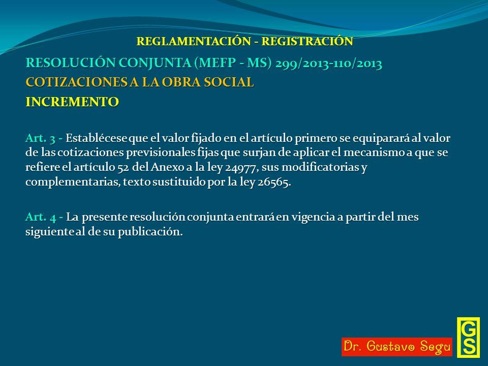 REGLAMENTACIÓN - REGISTRACIÓN RESOLUCIÓN CONJUNTA (MEFP - MS) 299/2013-110/2013 COTIZACIONES A LA OBRA SOCIAL INCREMENTO Art. 3 - Establécese que el v